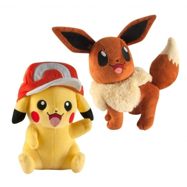 Pikachu with Ash Cap & Eevee, jucarii plus 25 cm