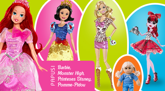 Papusi Barbie, Monster High, Printeses Disney, Pomme-Pidou