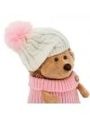 Fluffy, ariciul cu caciula alb-roz si pulover, din plus, 15cm