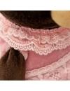Milk, fetita ursulet in rochita din catifea roz, din plus, 25cm
