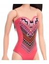 Papusa Barbie bruneta cu costum de baie cu modele geometrice