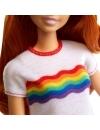 Papusa Barbie Fashionista cu fustita si tricou curcubeu