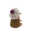 Prickle, ariciul cu caciulita si fular alb-violet, din plus, 20cm