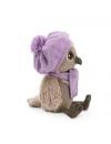 Sonya, bufnita cu caciula si fular violet, din plus, 20cm