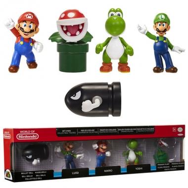 Super Mario, Set 5 minifigurine 6 cm (vinyl)
