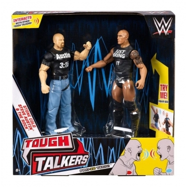 Stone Cold Steve Austin & The Rock, Set figurine cu sunete (fraze) 15 cm