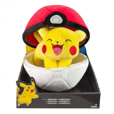 Pokemon, Jucarie plus Pikachu cu Pokeball 20 cm