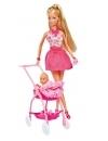 Papusa Steffi Love in rochita roz si cu carucior bebe 29 cm