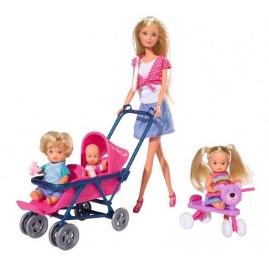 Set papusa Steffi Love cu 3 bebelusi si accesorii 29 cm