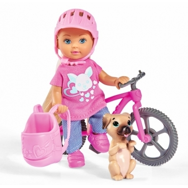 Papusica Evi cu bicicleta 12 cm