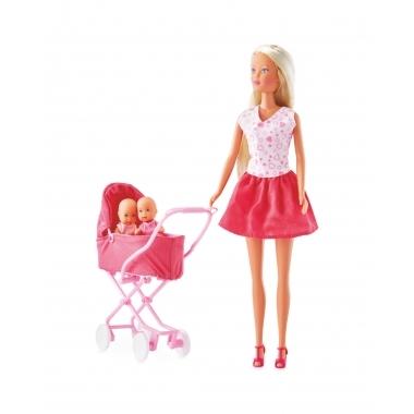 Papusa Steffi Love - cu fusta roz si carucior cu gemeni 29 cm