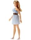 Papusa Barbie Fashionista cu rochita albastra si curelusa chic