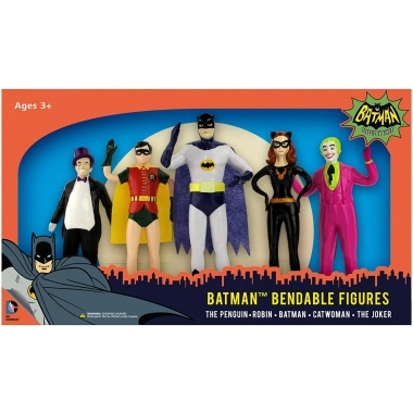 Batman 1966, Set 5 figurine Bendable (flexibile) 15 cm