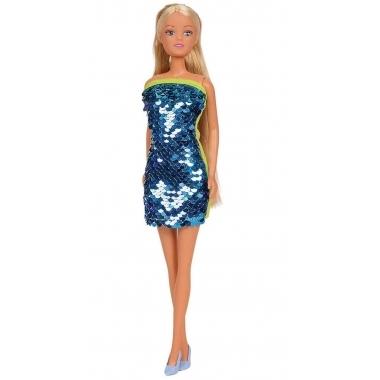 Papusa Steffi Love Swap - in rochita albastra, cu paiete reversibile 29 cm