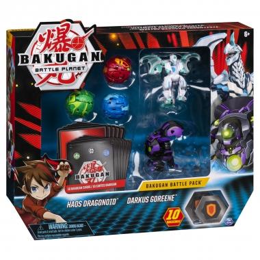 Bakugan - set de lupta cu 5 bile Haos Dragonoid si Darkus Goreene