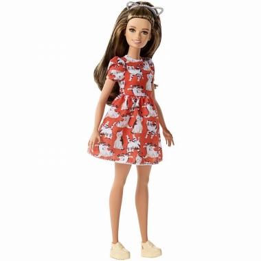 Papusa Barbie Fashionistas cu rochita cu imprimeuri