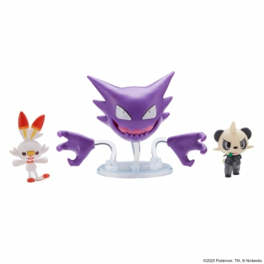 Pokemon Battle 3 Pack - Scorbunny, Pancham and Haunter 3-6 cm