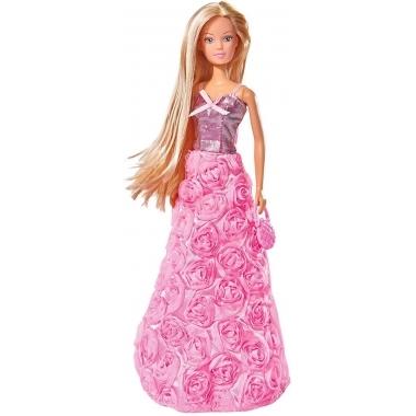 Papusa Steffi Love cu rochita roz de gala, cu trandafiri 29 cm