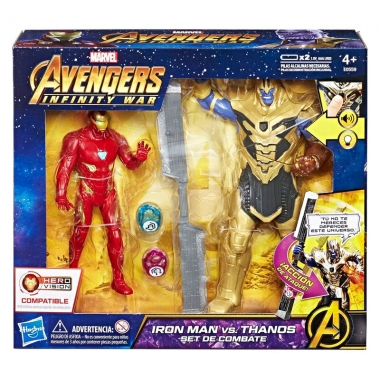 Marvel Avengers: Infinity War Iron Man vs Thanos, set 2 figurine 15-20 cm cu sunete