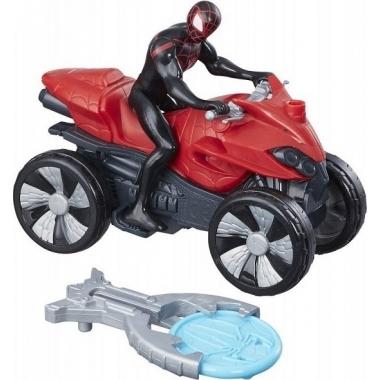 Set Figurina si Vehicul, Spider-Man Blast N Go - Miles Morales 9 cm