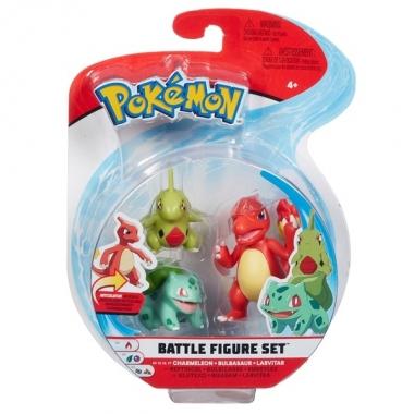 Pokémon Battle Mini Figurine 3-Pack - Larvitar, Bulbasaur & Charmeleon 5-8 cm