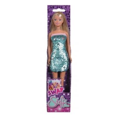 Papusa Steffi Love cu rochie cu paiete albastru deschis