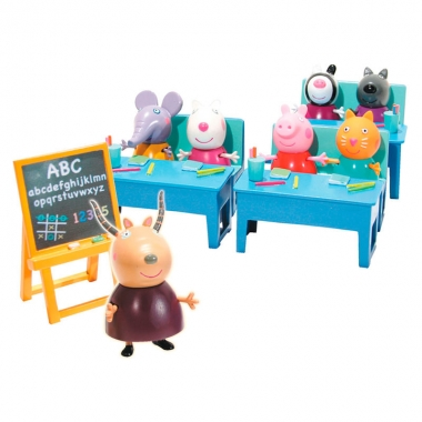 Peppa Pig  - Set 'Hai sa mergem la scoala!'  (include 7 figurine)