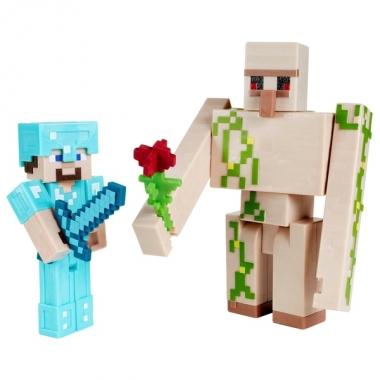 Minecraft, Craft-A-Block - Set 2 figurine Steve si Iron Golem 8 cm