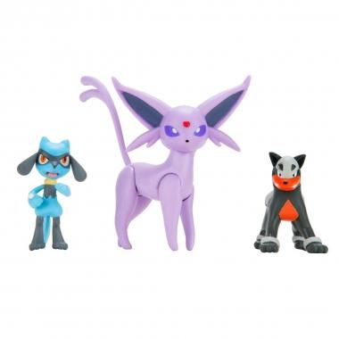 Pokémon Battle Mini Figurine Espeon, Riolu, Houndour 5-8 cm
