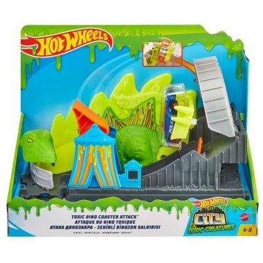 Hot Wheels City cursa cu obstacol atacul Dino