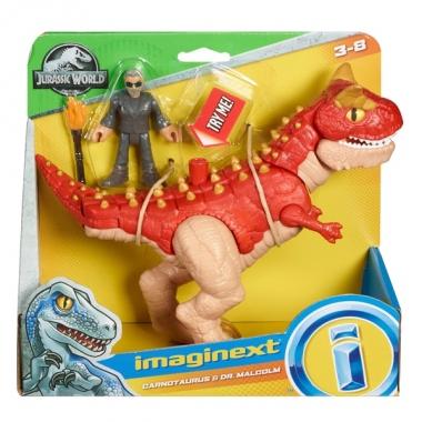 Imaginext Jurassic World Carnotaurus si  Dr. Malcolm 25 cm