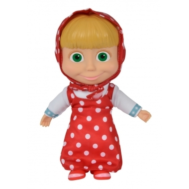 Papusa Masha cu corp moale in rochita cu buline 23 cm