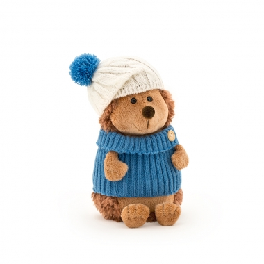 Prickle, ariciul cu caciula alb-albastra si pulover, din plus, 15cm